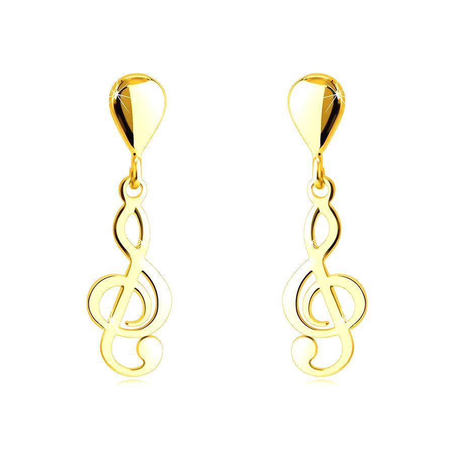 Náušnice zo 14K zlata - hudobný motív