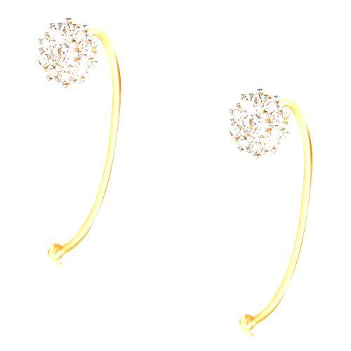 Náušnice zo 14K zlata - kvet z čírych zirkónov uchytený na úzkom oblúku
