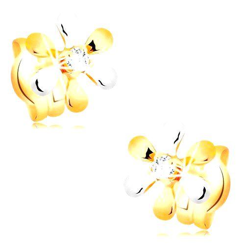 Náušnice zo 14K zlata - kvietok s dvojfarebnými lupeňmi a briliantom