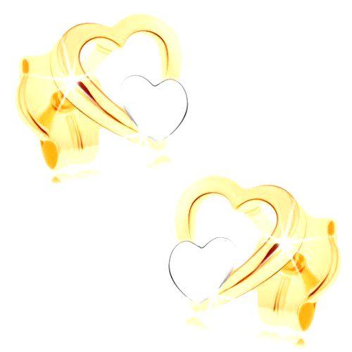 Náušnice zo 14K zlata - lesklý obrys srdca