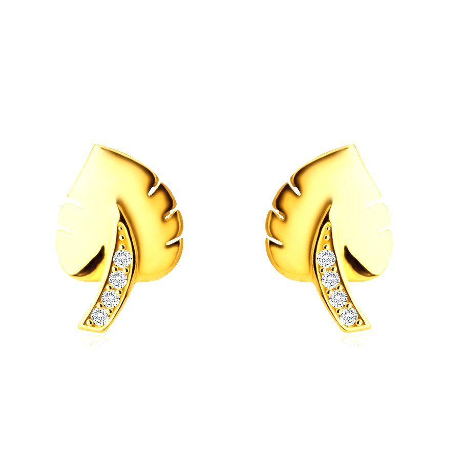 Náušnice zo 14K zlata - motív listu