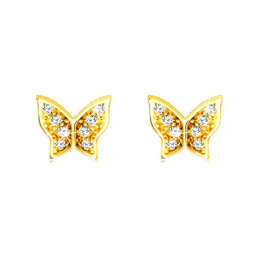 Náušnice zo 14K zlata - motýľ zdobený lesklými okrúhlymi zirkónikmi