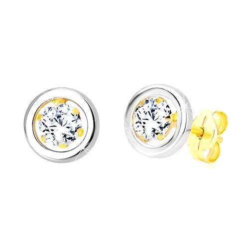 Náušnice zo 14K zlata - okrúhly zirkón v kotlíku a kruh z bieleho zlata