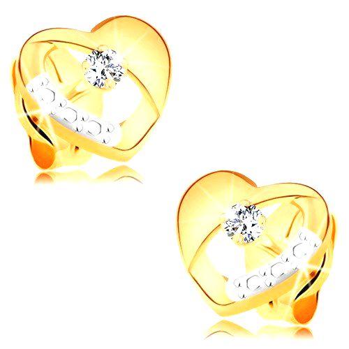 Náušnice zo 14K zlata - súmerné dvojfarebné srdiečko s diamantom a výrezom