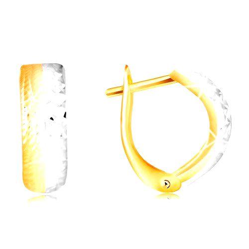 Náušnice zo 14K zlata - vypuklý gravírovaný oblúk v dvojfarebnom prevedení
