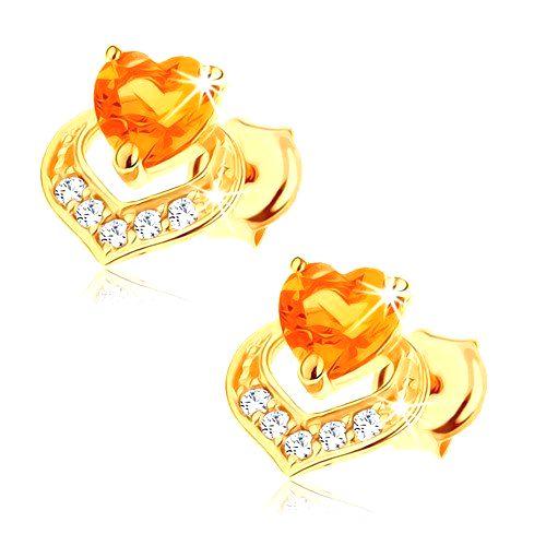 Náušnice zo 14K žltého zlata - dve prekrývajúce sa srdcia