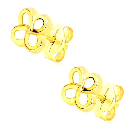 Náušnice zo 14K žltého zlata - kvietok so štyrmi lupeňmi a perleťou