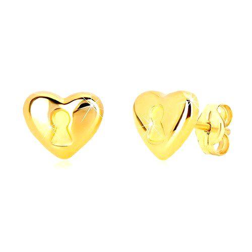 Náušnice zo 14K žltého zlata - srdce s kľúčovou dierkou