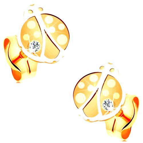 Náušnice zo zlata 14K - dvojfarebná lienka s okrúhlym čírym zirkónikom