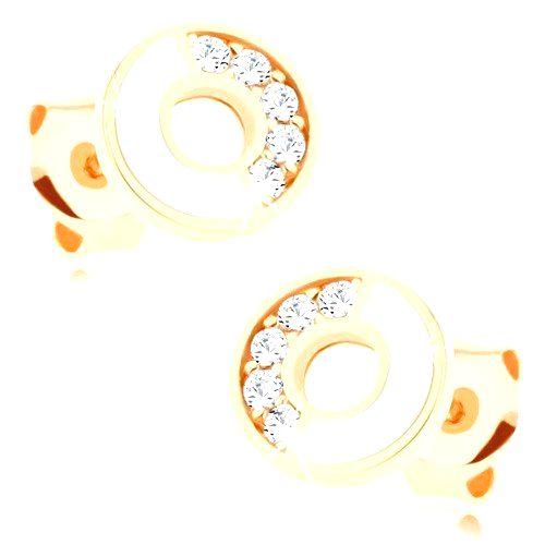 Náušnice zo zlata 375 - obruč s bielou a zirkónovou polovicou