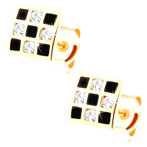 Náušnice zo zlata 375 - štvorček so šachovnicovým vzorom