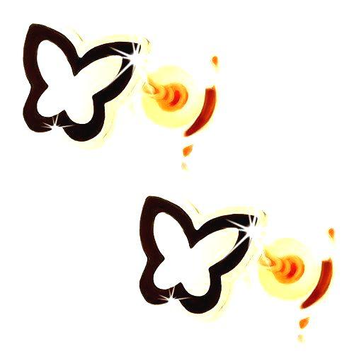 Náušnice zo zlata 585 - lesklý plochý motýlik