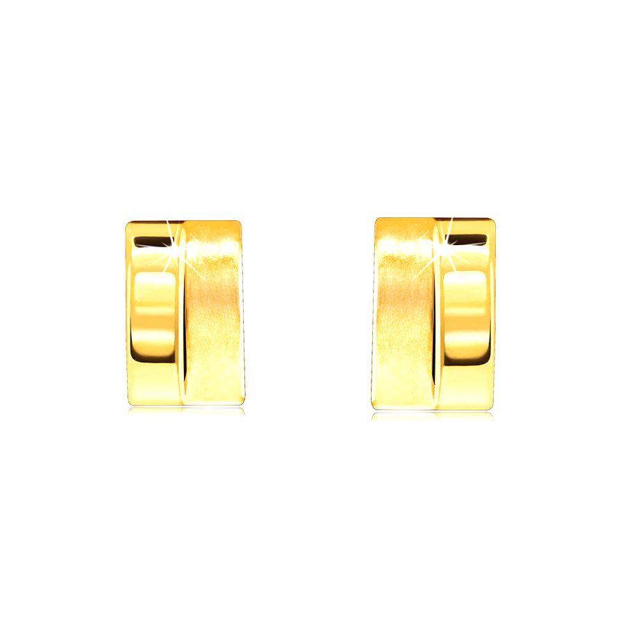 Náušnice zo zlata 585 - oblúčik rozdelený na polovicu