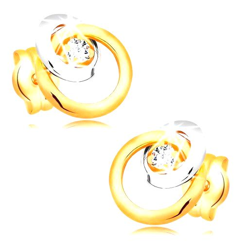 Náušnice zo zlata 585 - trblietavý číry briliant