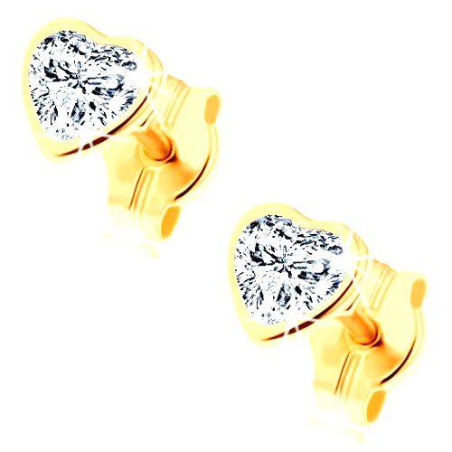 Náušnice zo žltého 14K zlata - brúsené zirkónové srdiečko čírej farby