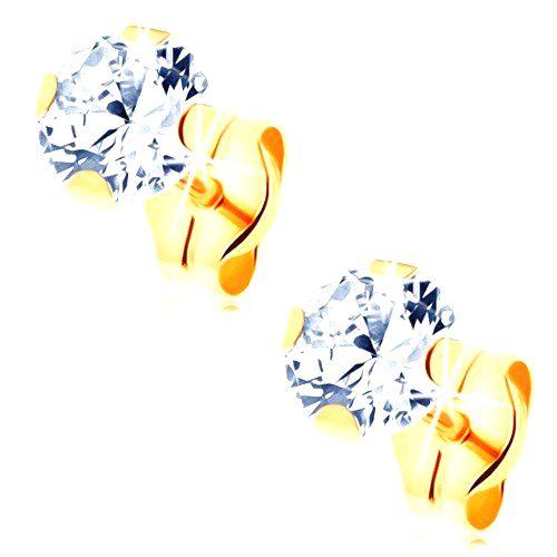 Náušnice zo žltého 14K zlata - číry okrúhly zirkón v kotlíku