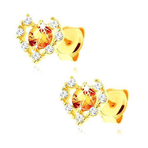 Náušnice zo žltého 14K zlata - číry zirkónový obrys srdca