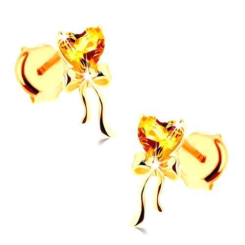 Náušnice zo žltého 14K zlata - citrínové srdiečko žltej farby