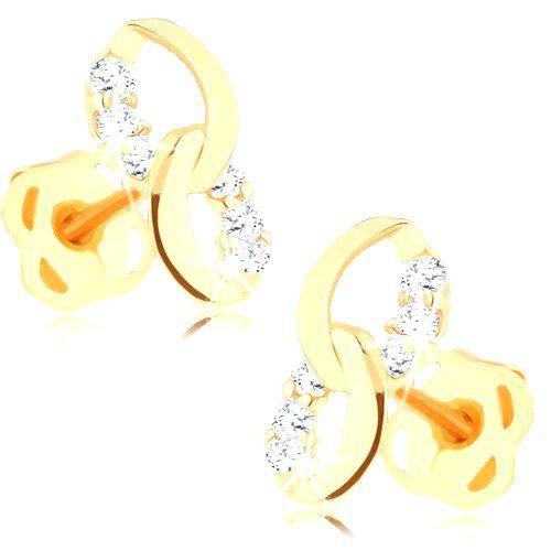 Náušnice zo žltého 14K zlata - dve prepojené elipsy