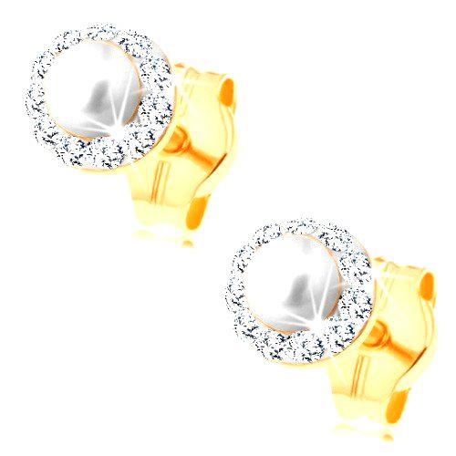 Náušnice zo žltého 14K zlata - guľatá biela perlička s čírym trblietavým lemom