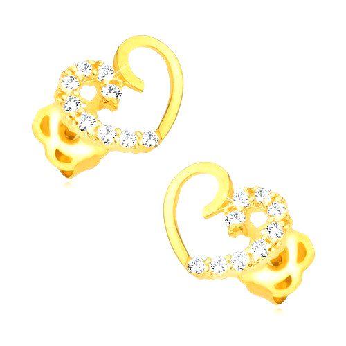 Náušnice zo žltého 14K zlata - kontúra symetrického srdca