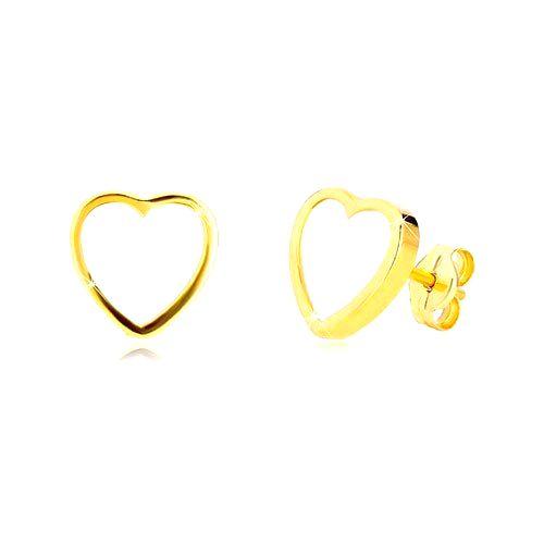 Náušnice zo žltého 14K zlata - kontúra symetrického srdca s prírodnou perleťou