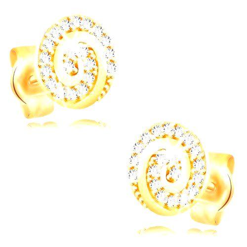 Náušnice zo žltého 14K zlata - kruh zdobený špirálou a čírymi zirkónmi
