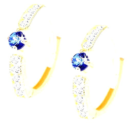 Náušnice zo žltého 14K zlata - krúžok s modrým syntetickým zafírom a zirkónikmi
