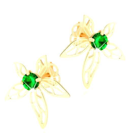 Náušnice zo žltého 14K zlata - kvet zdobený zeleným zirkónom a výrezmi