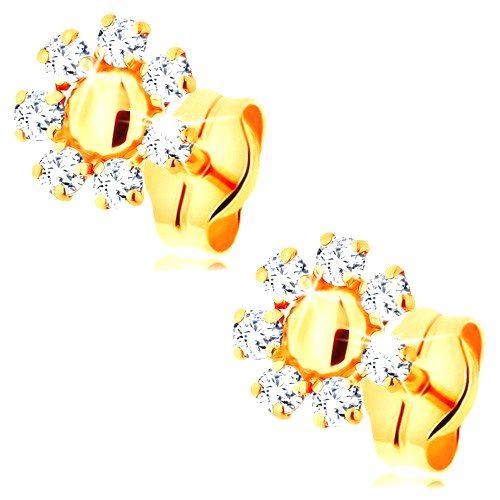 Náušnice zo žltého 14K zlata - kvietok s hladkým stredom a  okrúhlymi čírymi zirkónmi