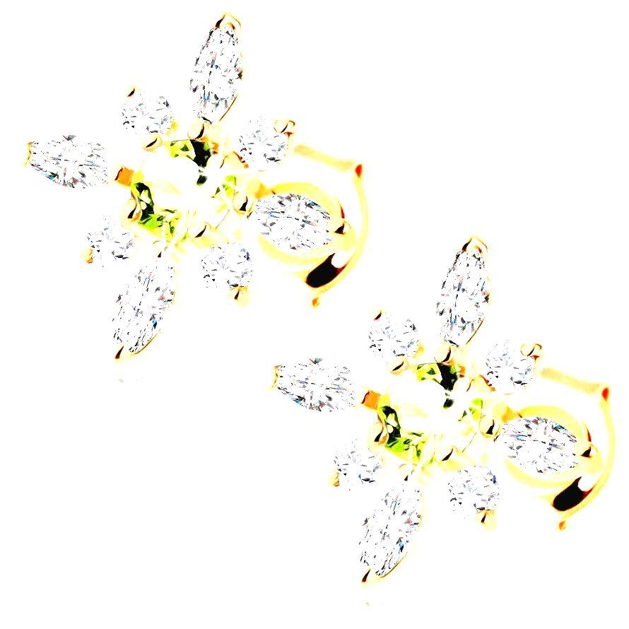Náušnice zo žltého 14K zlata - kvietok z čírych zirkónov a zeleného olivínu