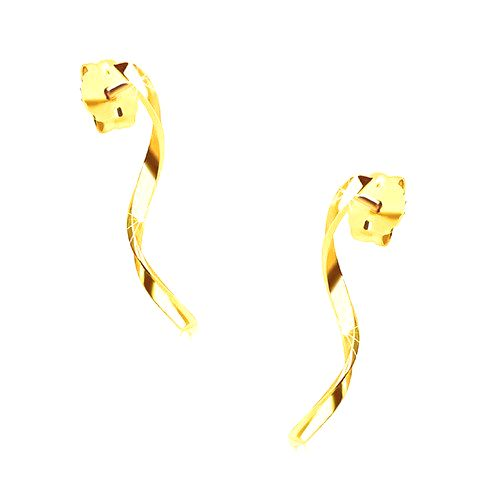 Náušnice zo žltého 14K zlata - lesklá zvlnená línia na puzetke