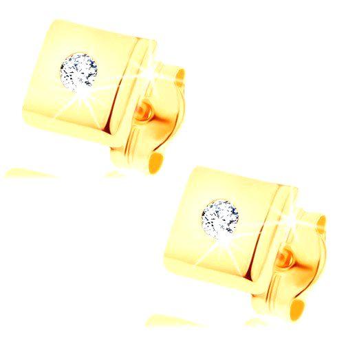 Náušnice zo žltého 14K zlata - lesklé štvorčeky