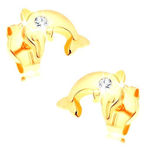 Náušnice zo žltého 14K zlata - lesklý delfín vo výskoku