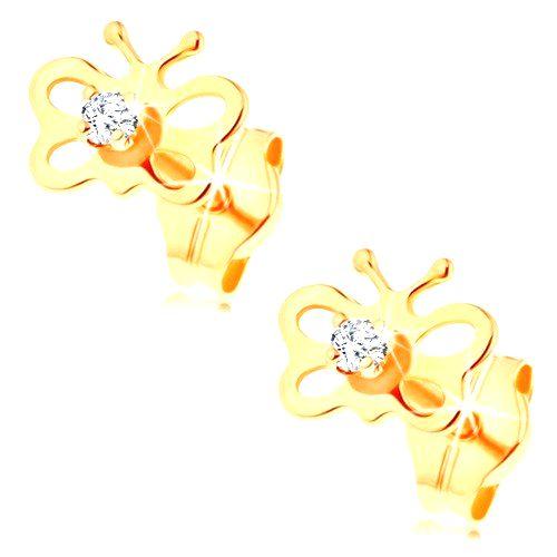Náušnice zo žltého 14K zlata - lesklý motýľ s výrezmi