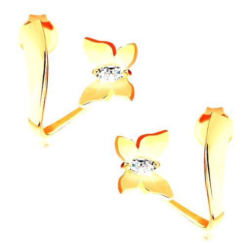Náušnice zo žltého 14K zlata - lesklý motýľ so zirkónmi na zvlnenej stuhe