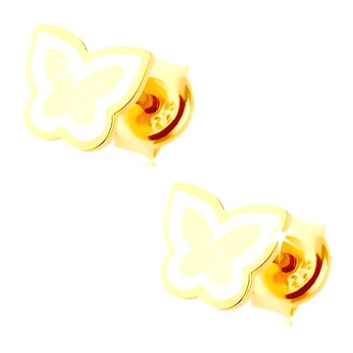 Náušnice zo žltého 14K zlata - lesklý plochý motýlik
