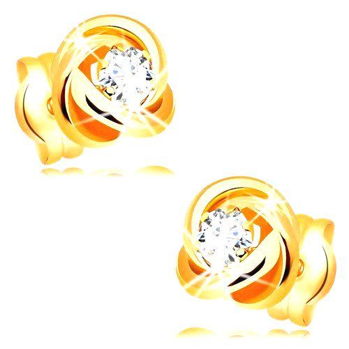 Náušnice zo žltého 14K zlata - lesklý uzol z troch obručí