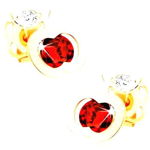 Náušnice zo žltého 14K zlata - ligotavé červené jabĺčko
