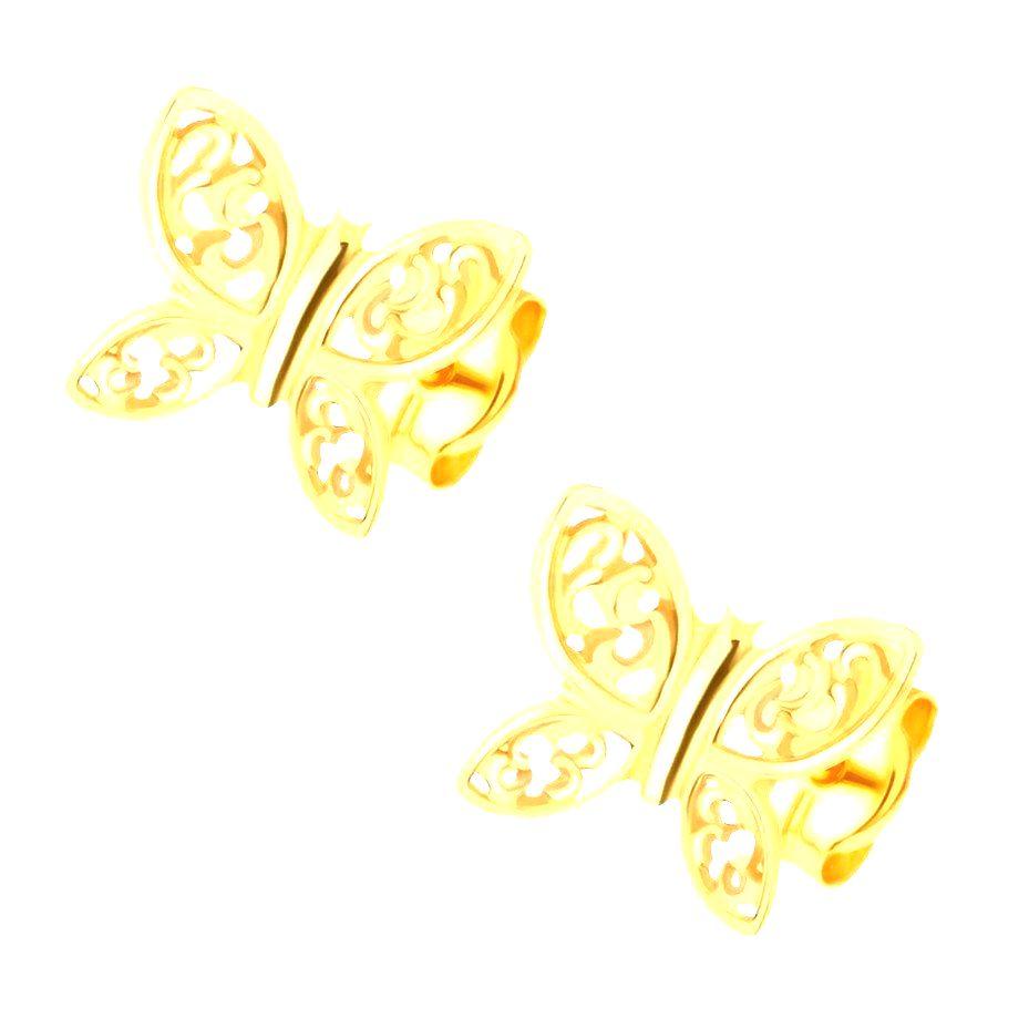 Náušnice zo žltého 14K zlata - ligotavé motýle