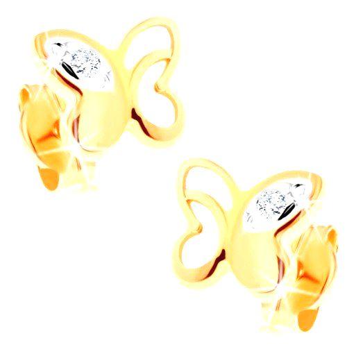Náušnice zo žltého 14K zlata - motýľ s ozdobnými výrezmi a čírymi zirkónikmi