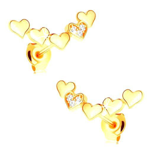 Náušnice zo žltého 14K zlata - oblúk z pospájaných vypuklých srdiečok