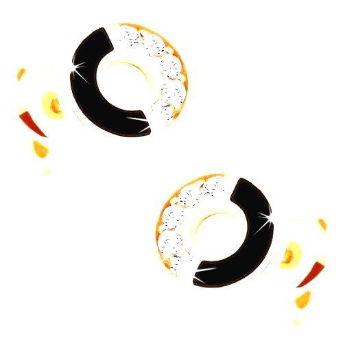 Náušnice zo žltého 14K zlata - obruč s čiernou a zirkónovou polovicou
