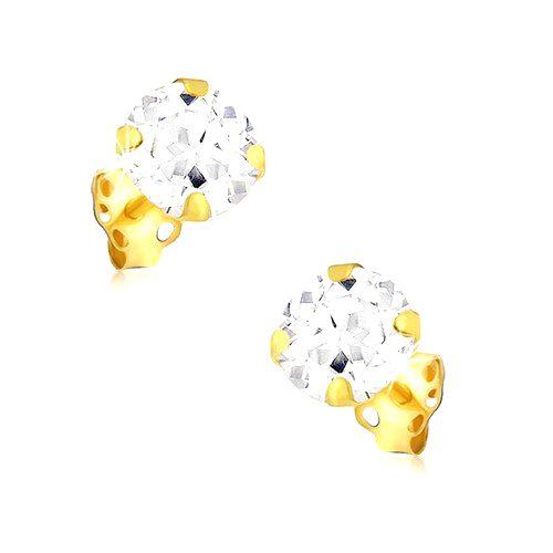 Náušnice zo žltého 14K zlata - ozdobne vybrúsený okrúhly zirkón