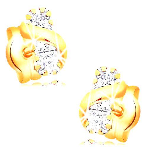 Náušnice zo žltého 14K zlata - pás čírych zirkónov