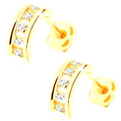 Náušnice zo žltého 14K zlata - polkruhy zdobené čírymi zirkónmi