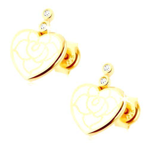 Náušnice zo žltého 14K zlata - srdiečko zdobené bielou glazúrou