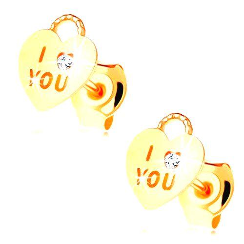 Náušnice zo žltého 14K zlata - srdiečková kladka