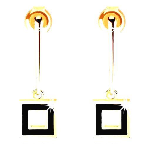 Náušnice zo žltého 14K zlata - úzka palička s obrysom štvorca