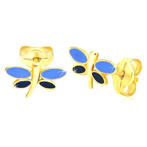 Náušnice zo žltého 14K zlata - vážka s modrou glazúrou na krídlach